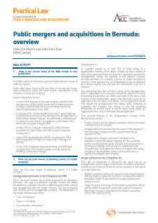 Practical Law Company - Public Mergers and Acquisitions in Bermuda: An Overview 2016