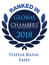 Ranked in Chambers Global 2018 - Fozeia Rana-Fahy