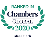 Ranked in Chambers Global, 2020 - Alan Dunch